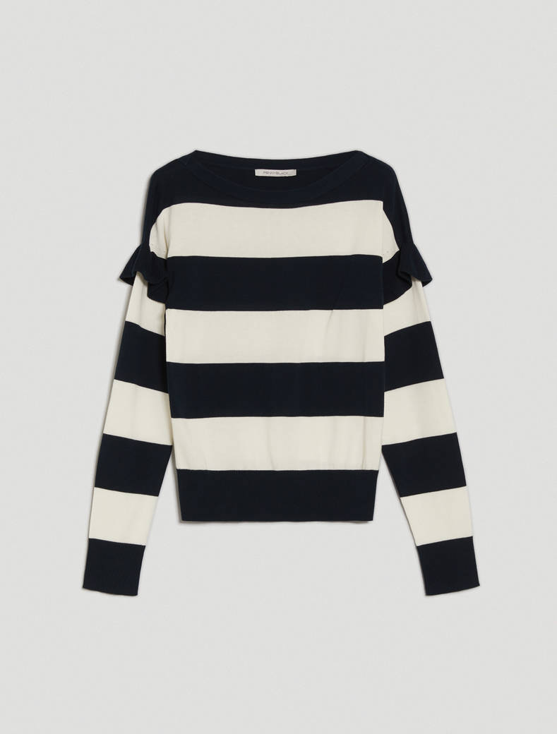 Ruched cotton jumper - navy blue pattern - pennyblack