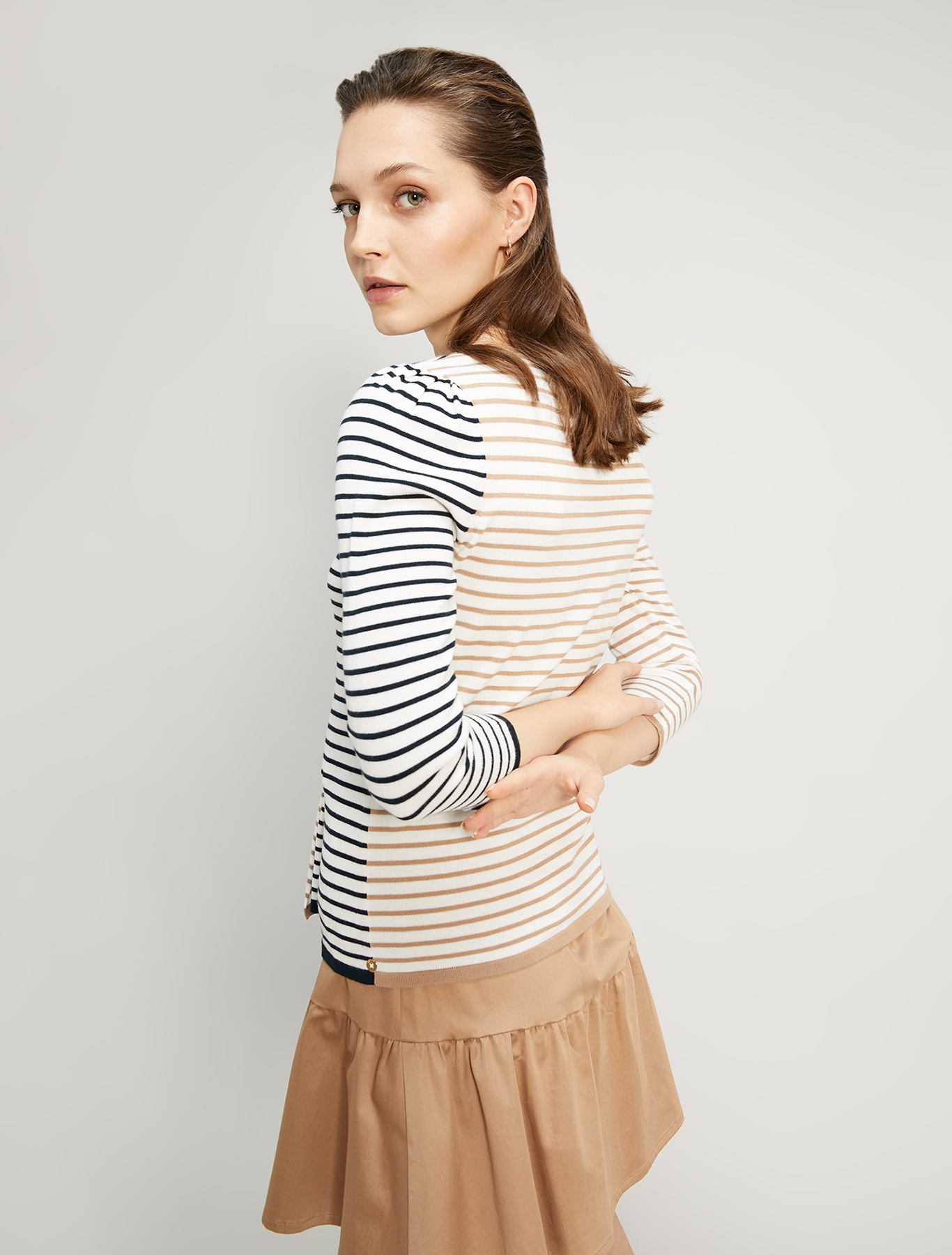 Mixed stripe cotton jumper - beige pattern - pennyblack