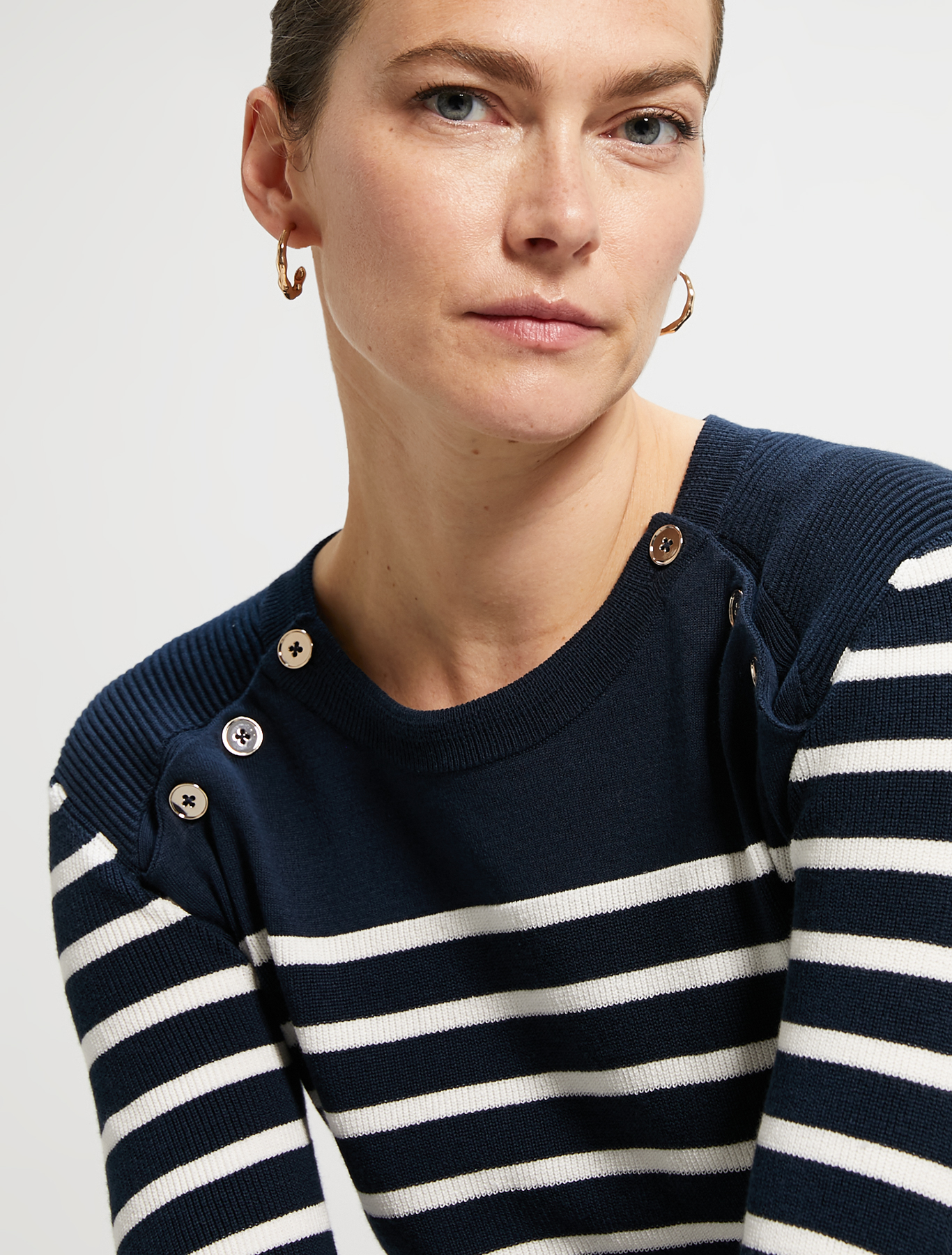 Cotton marinière jumper - navy blue pattern - pennyblack