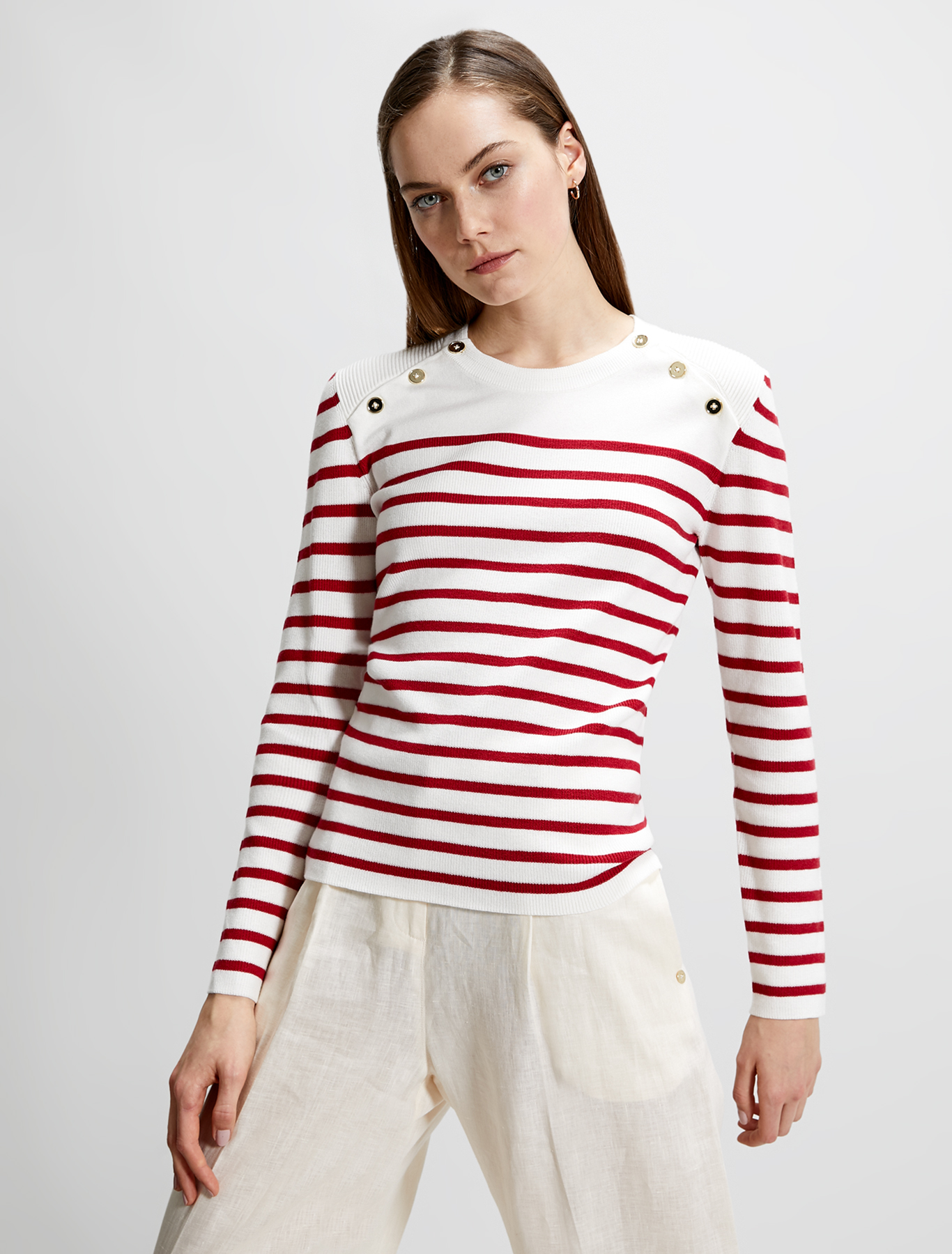 Cotton marinière jumper - white pattern - pennyblack