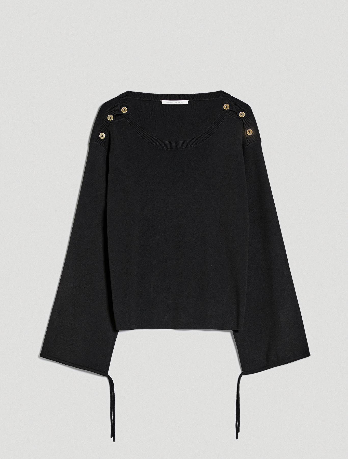 Jumper with buttons and drawstring - black - pennyblack