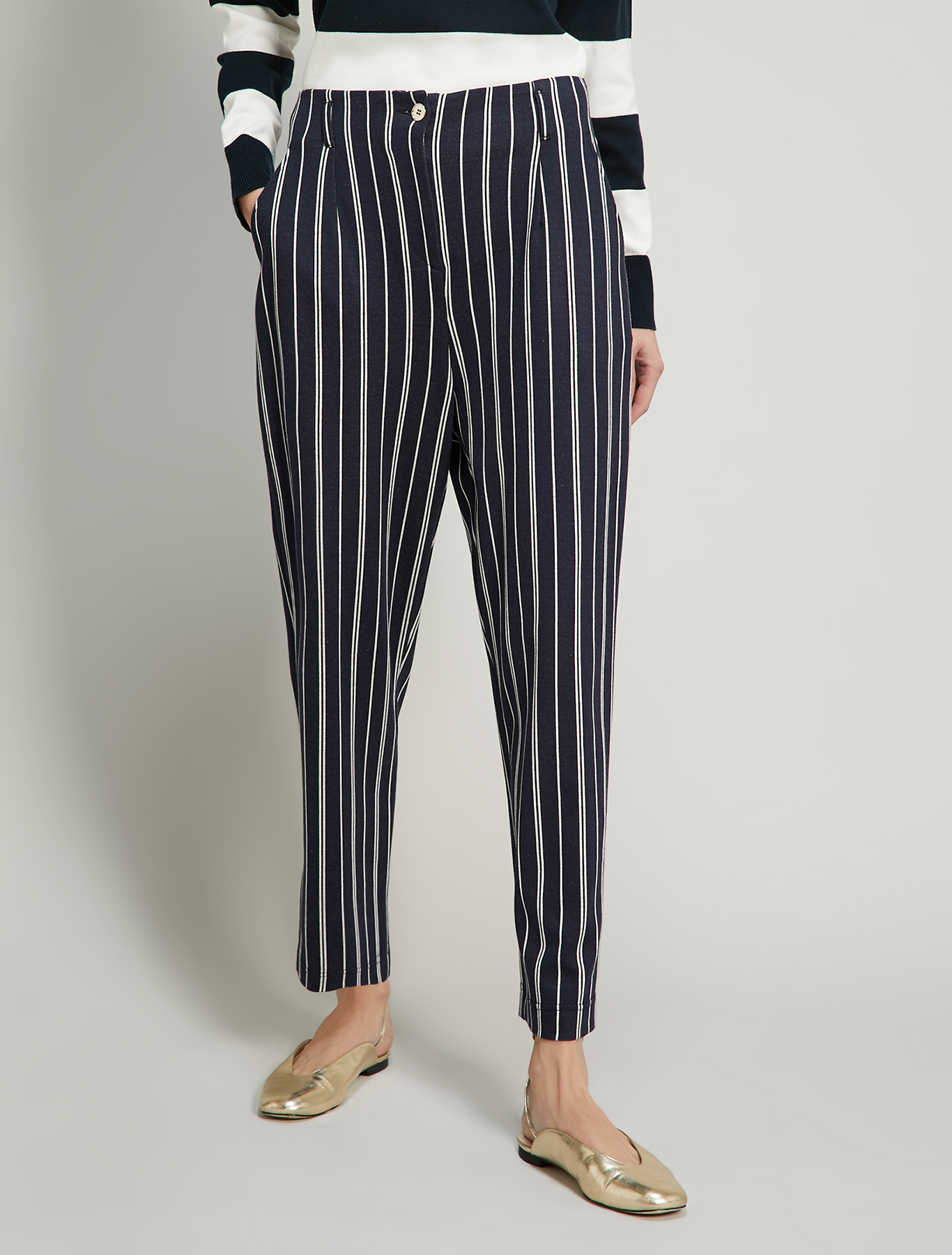 Jacquard jersey trousers - navy blue pattern - pennyblack