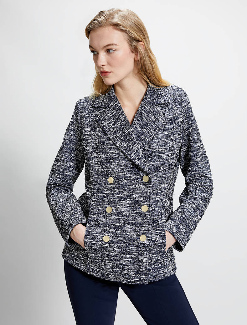 Pea coat in lamé basketweave jersey - navy blue - pennyblack