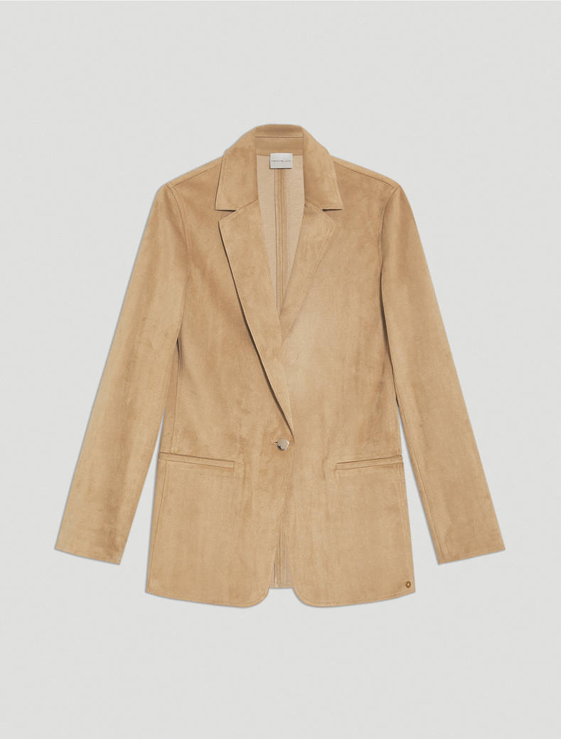 Jersey suede blazer - beige - pennyblack
