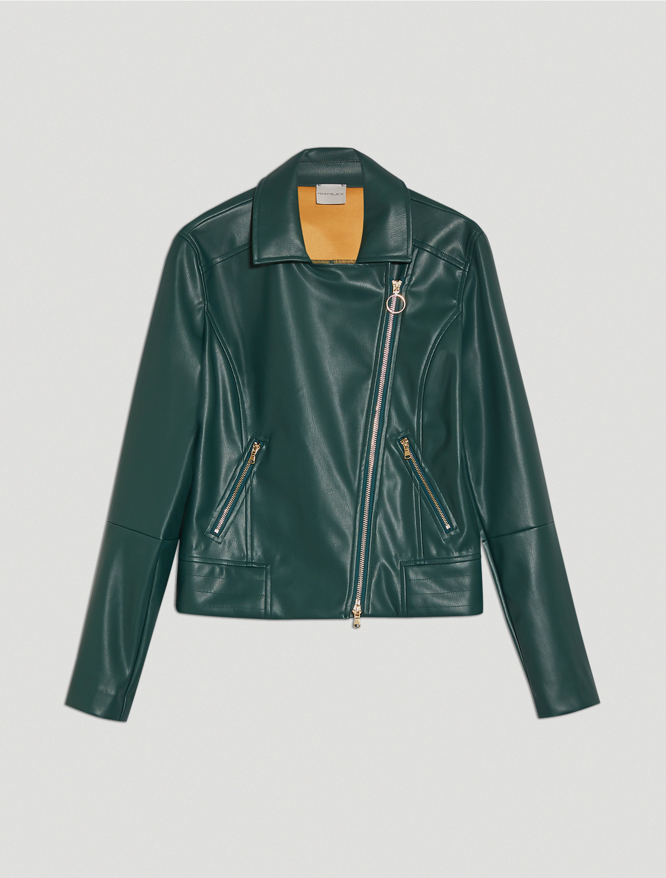 Coated jersey biker jacket - green - pennyblack
