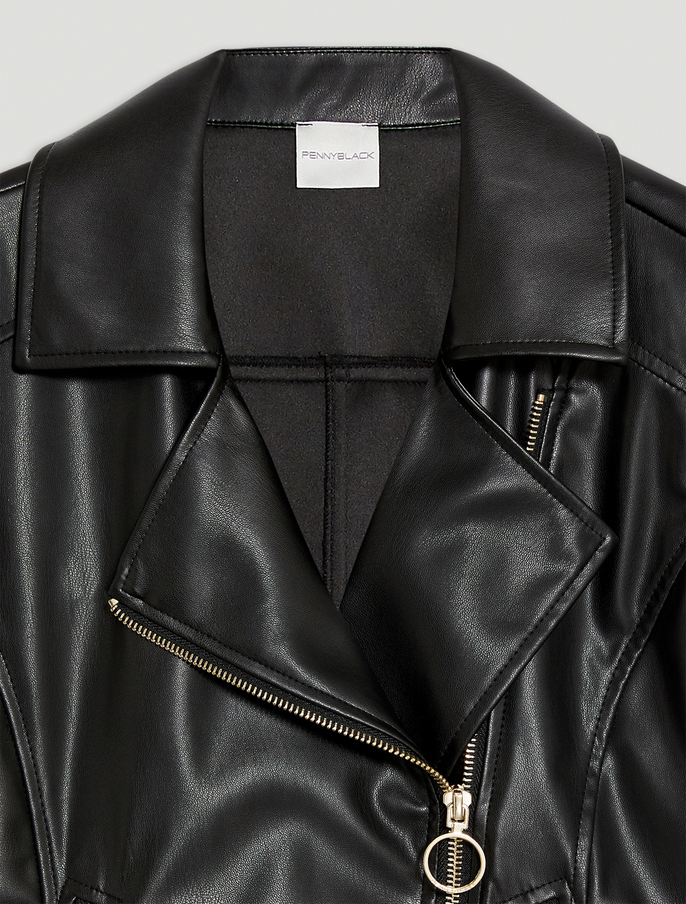 Coated jersey biker jacket - black - pennyblack