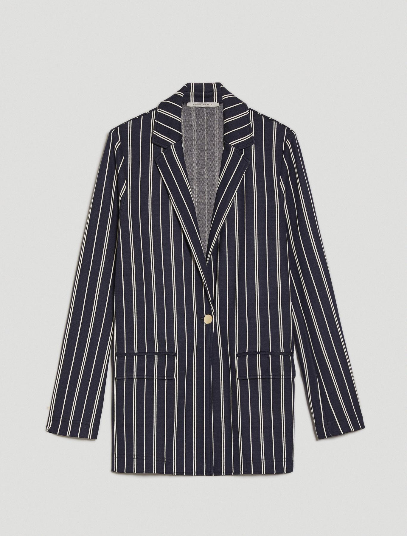 Jacquard jersey blazer - navy blue pattern - pennyblack