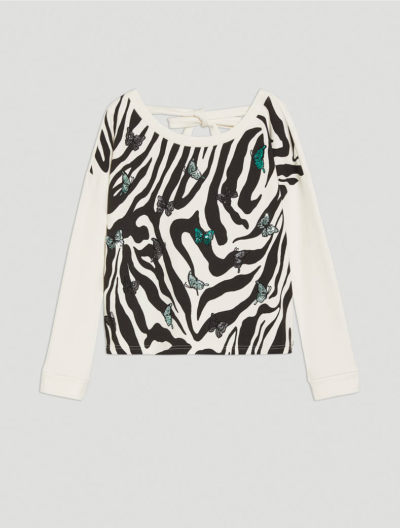 Sweatshirt with print and embroidery - ivory - pennyblack