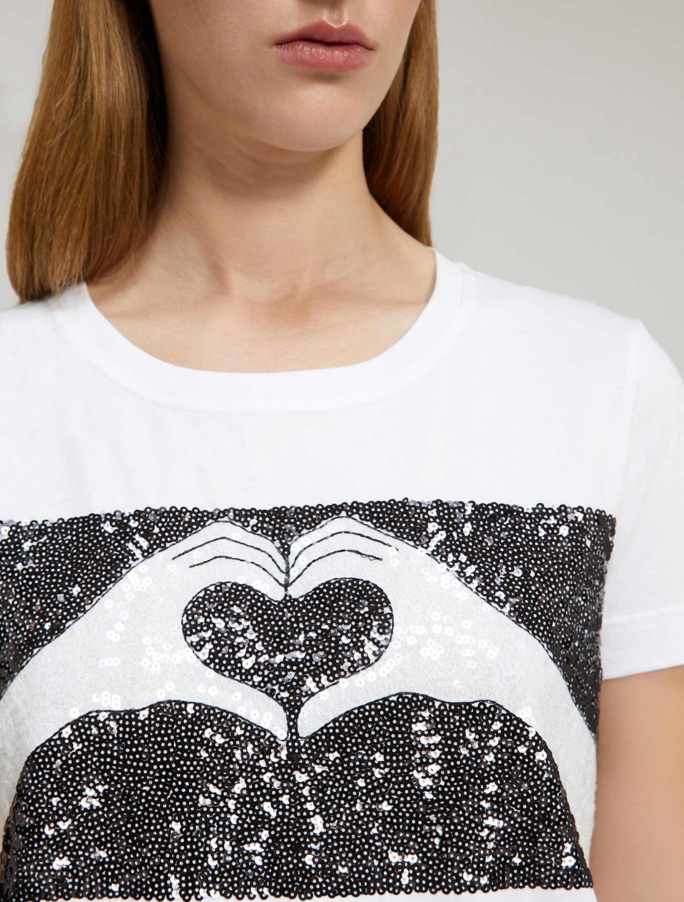 Embroidered sequin T-shirt - white - pennyblack