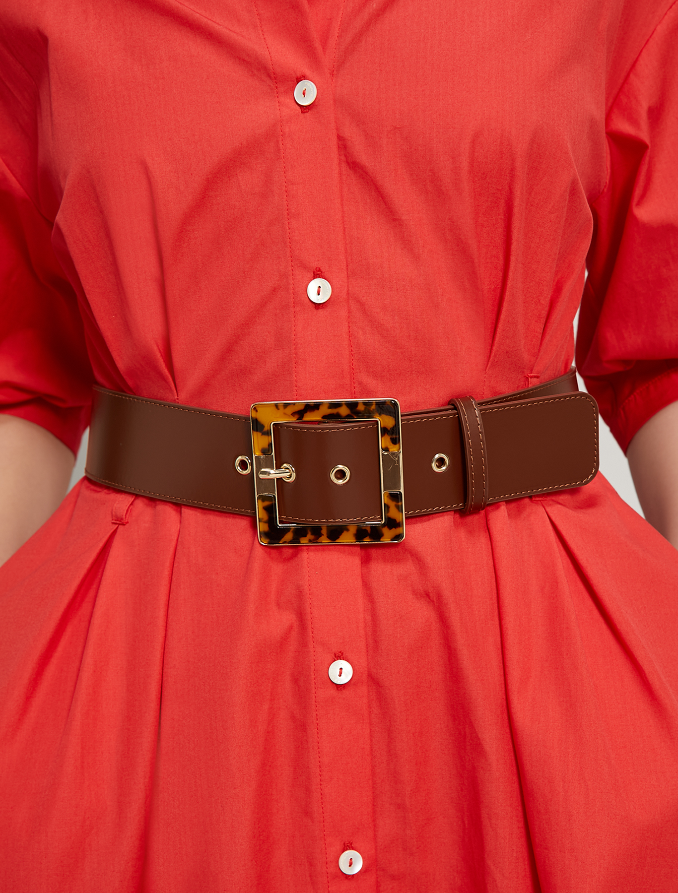 Belt with tortoiseshell buckle - tan - pennyblack