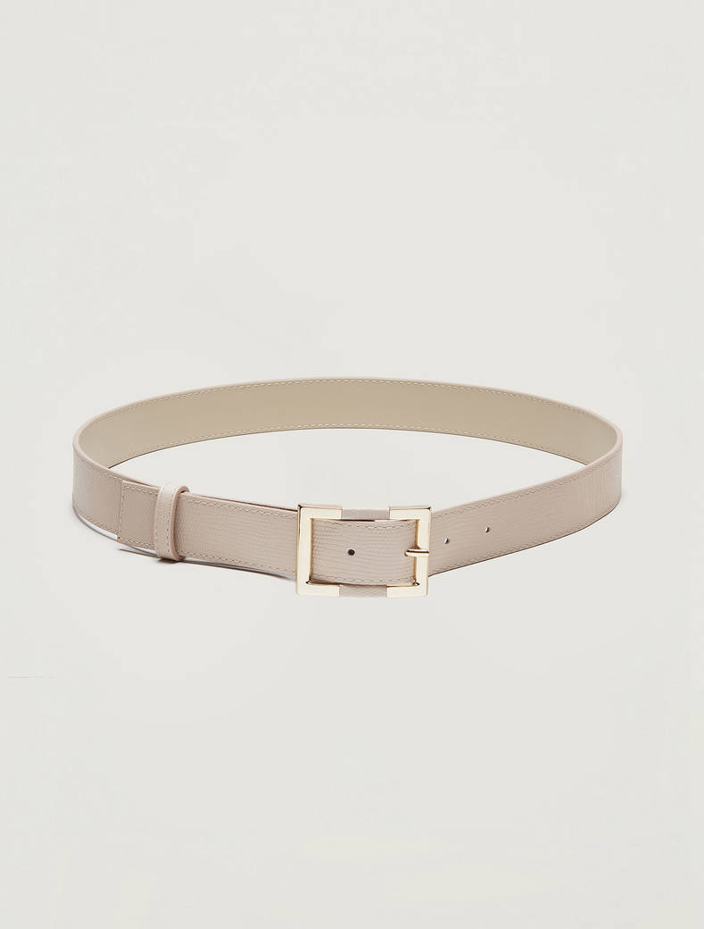 Lizard-print leather belt - beige - pennyblack