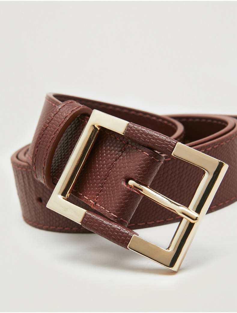 Lizard-print leather belt - tan - pennyblack