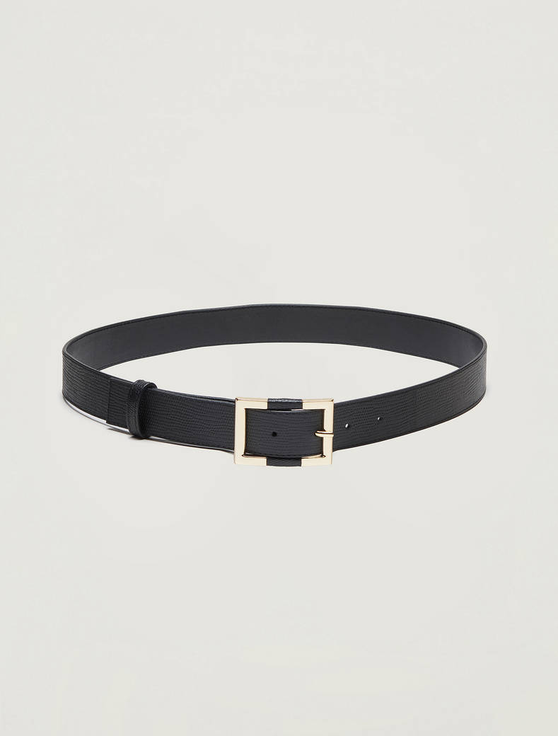 Lizard-print leather belt - black - pennyblack