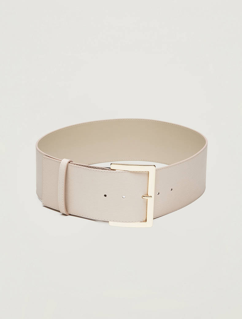 Wide leather belt - beige - pennyblack