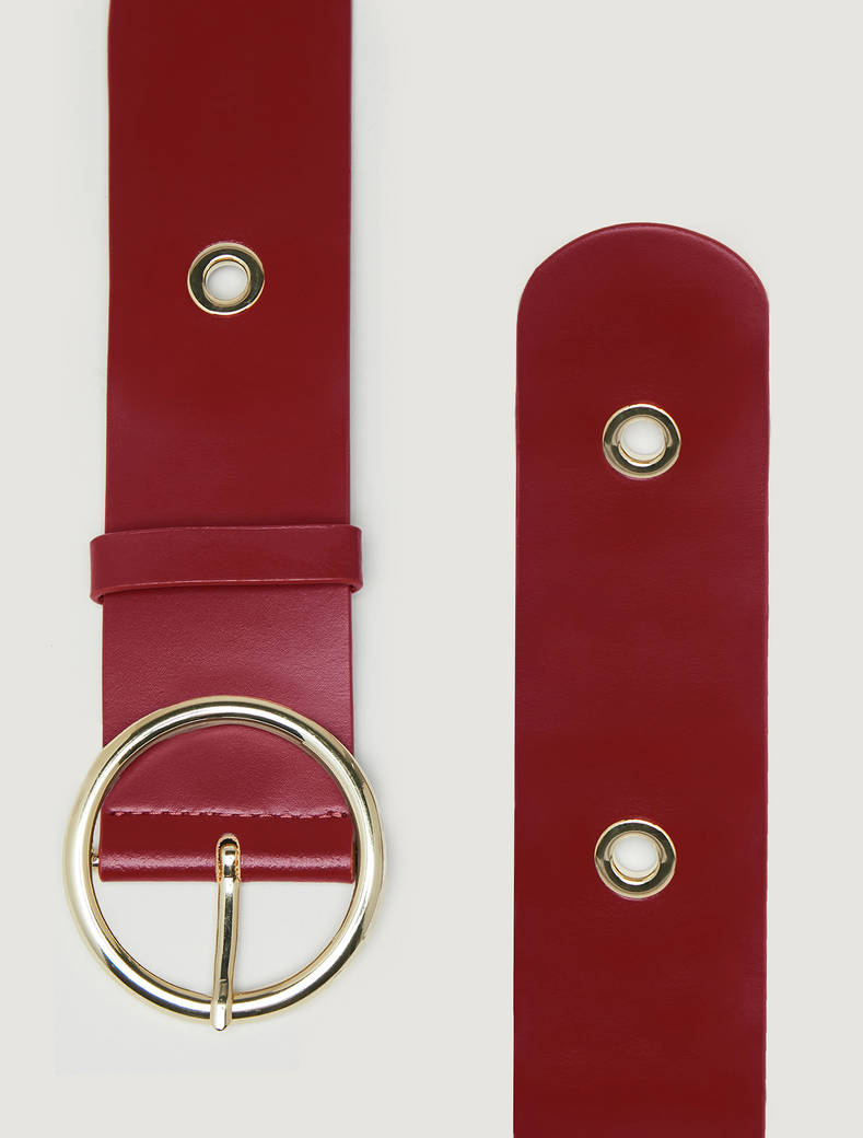 Belt with metal rings - red - pennyblack
