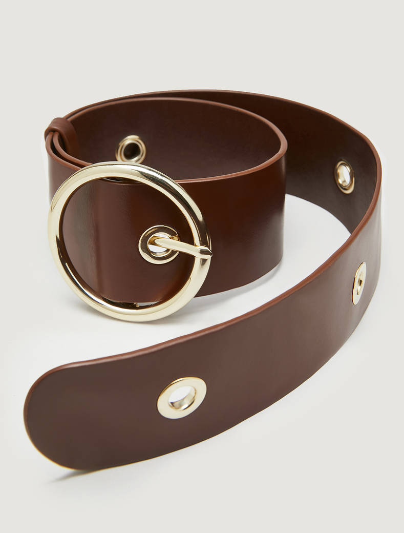 Belt with metal rings - tan - pennyblack