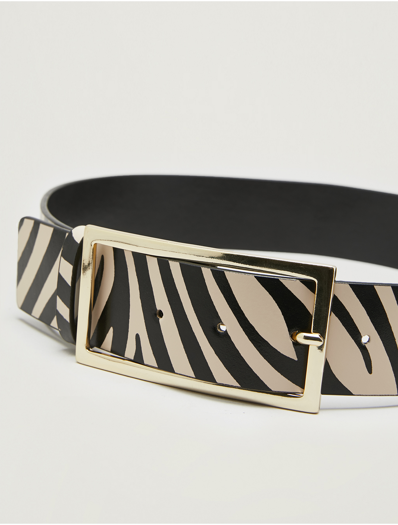 Leather zebra-print belt - black - pennyblack