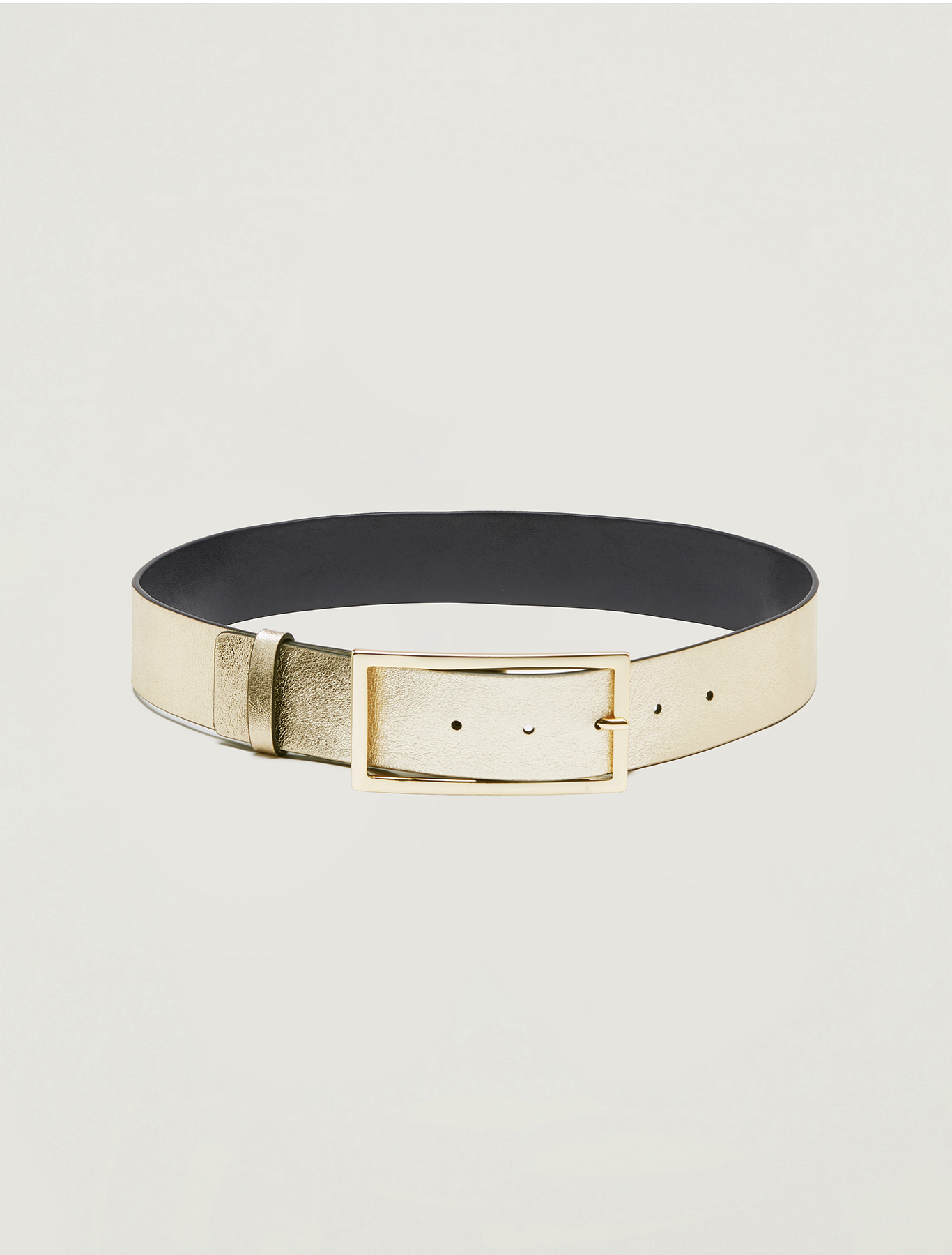 Metallic leather belt - dove-grey - pennyblack