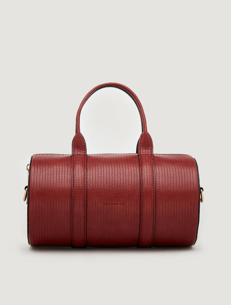 Barrel bag with lizard print - rust - pennyblack