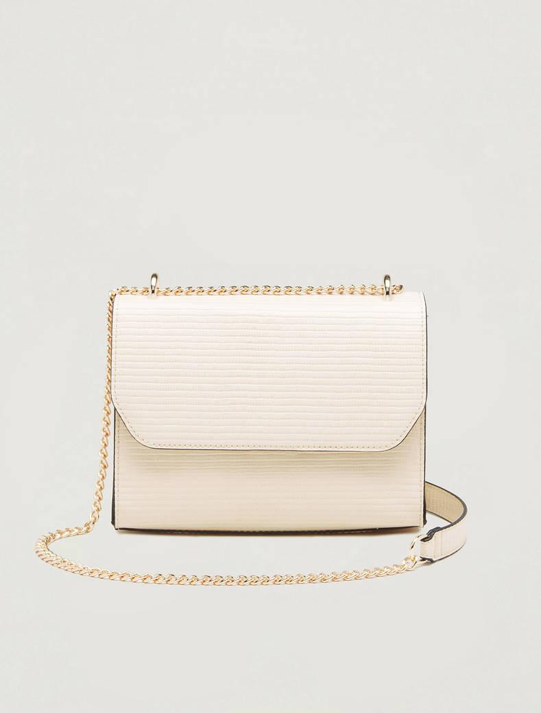 Chain bag a stampa lizard - beige - pennyblack