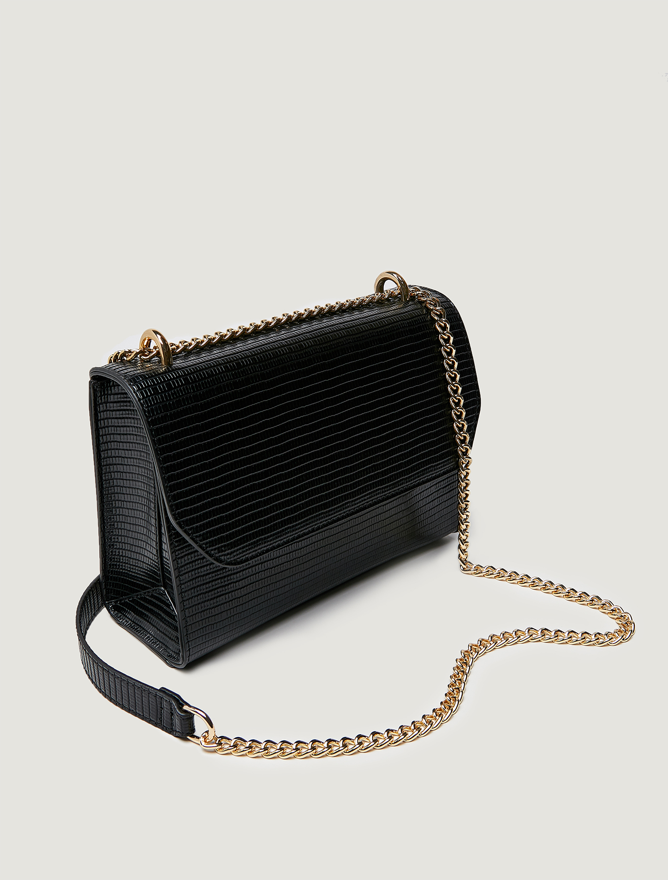 Lizard-print chain bag - black - pennyblack