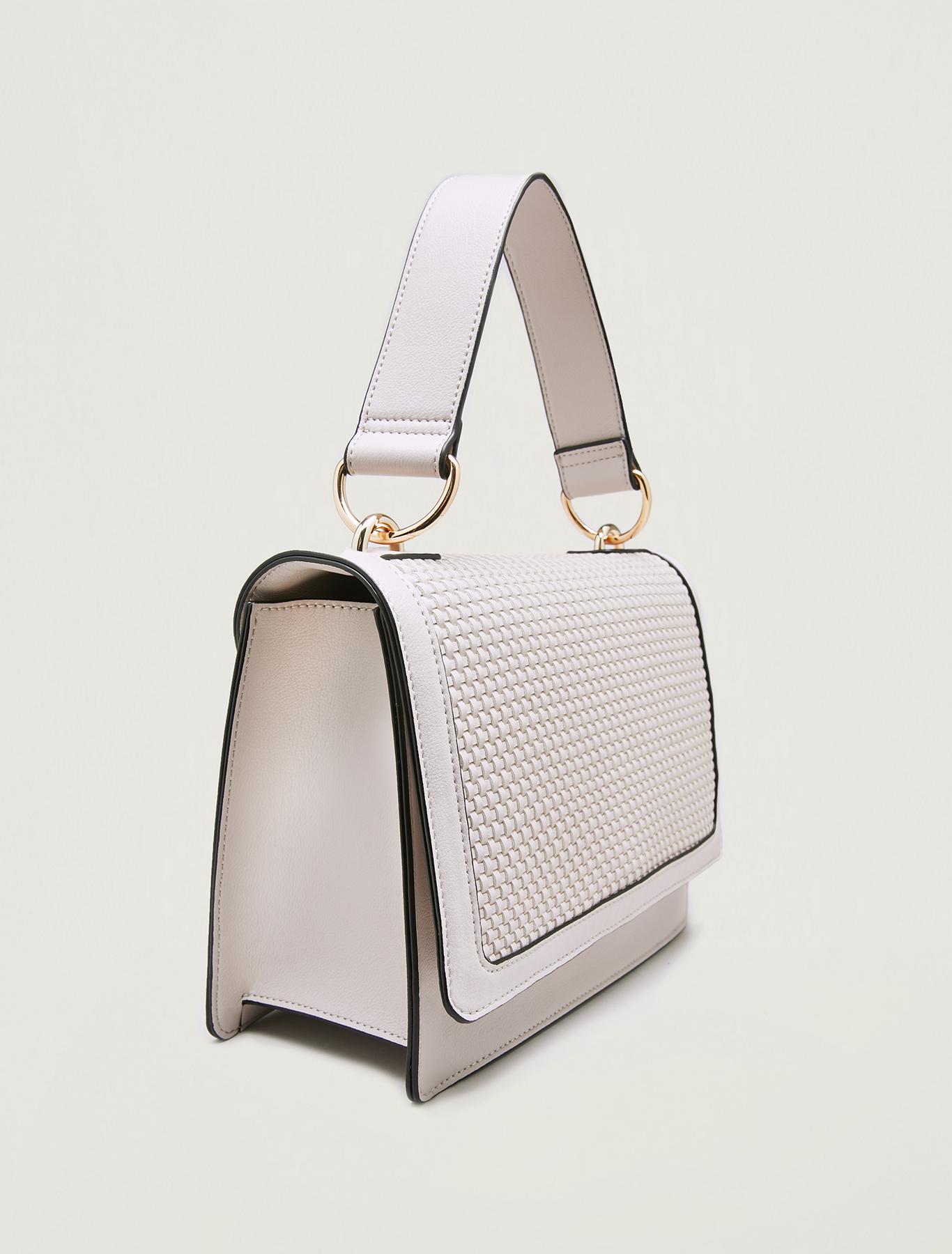 Woven shoulder bag - beige - pennyblack