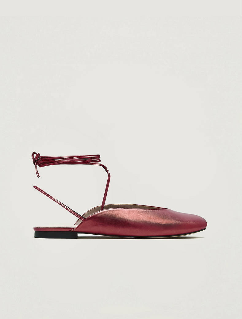 Metallic mules with laces - red - pennyblack