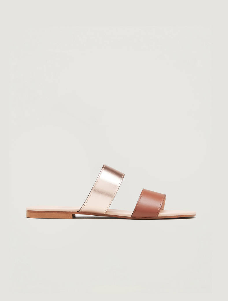 Leather and gold flat sandals - brown - pennyblack