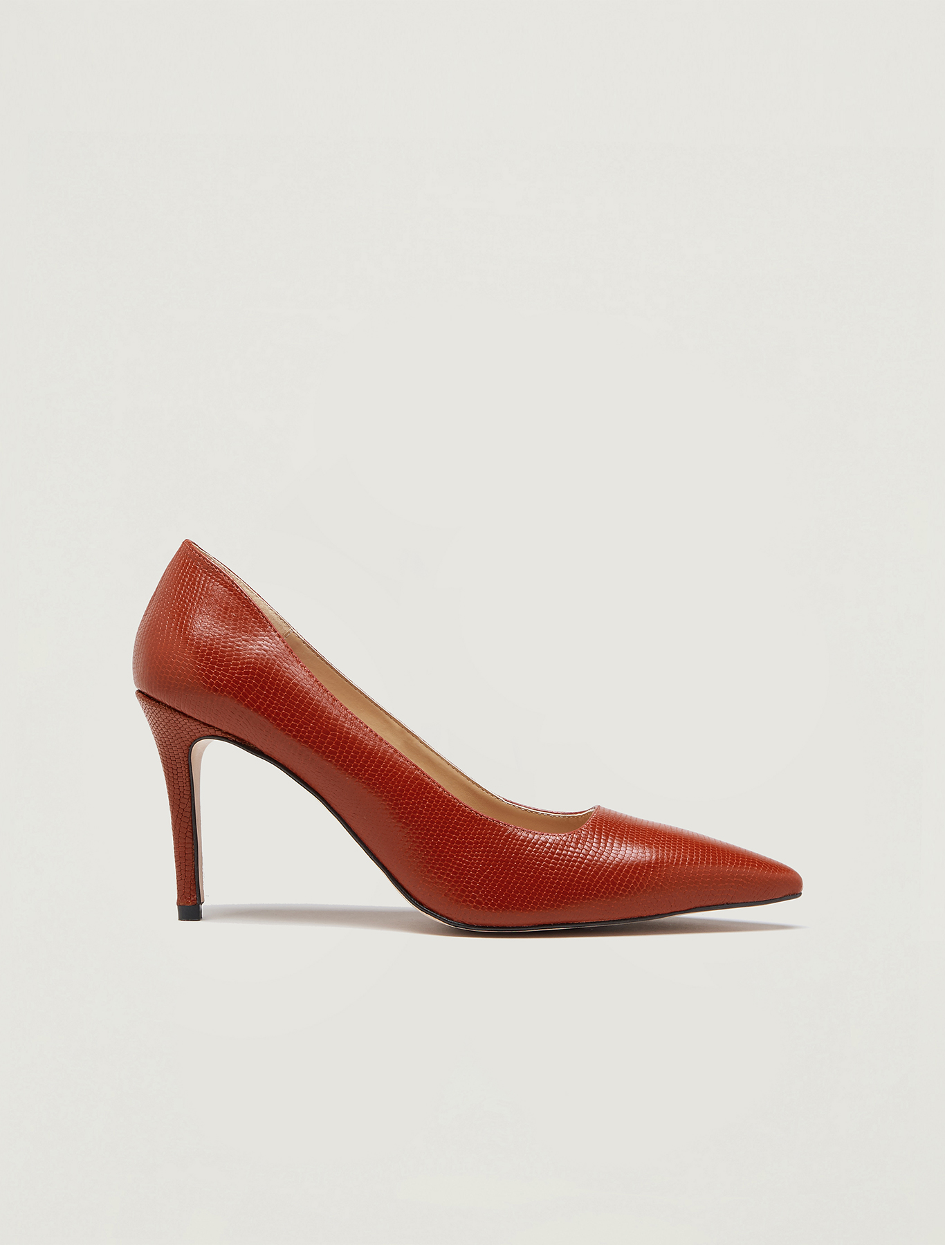 Lizard-print leather court shoes - rust - pennyblack