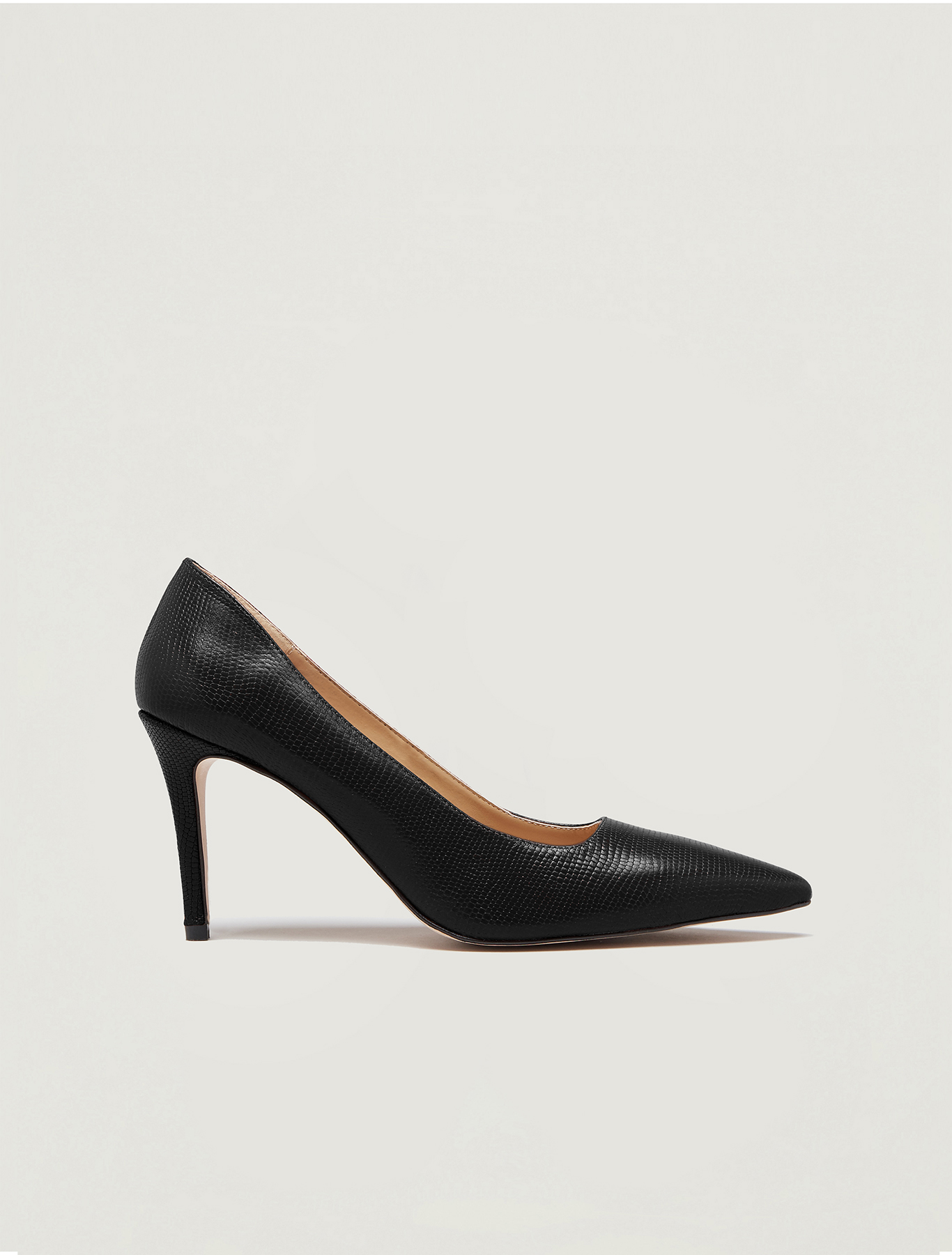 Lizard-print leather court shoes - black - pennyblack