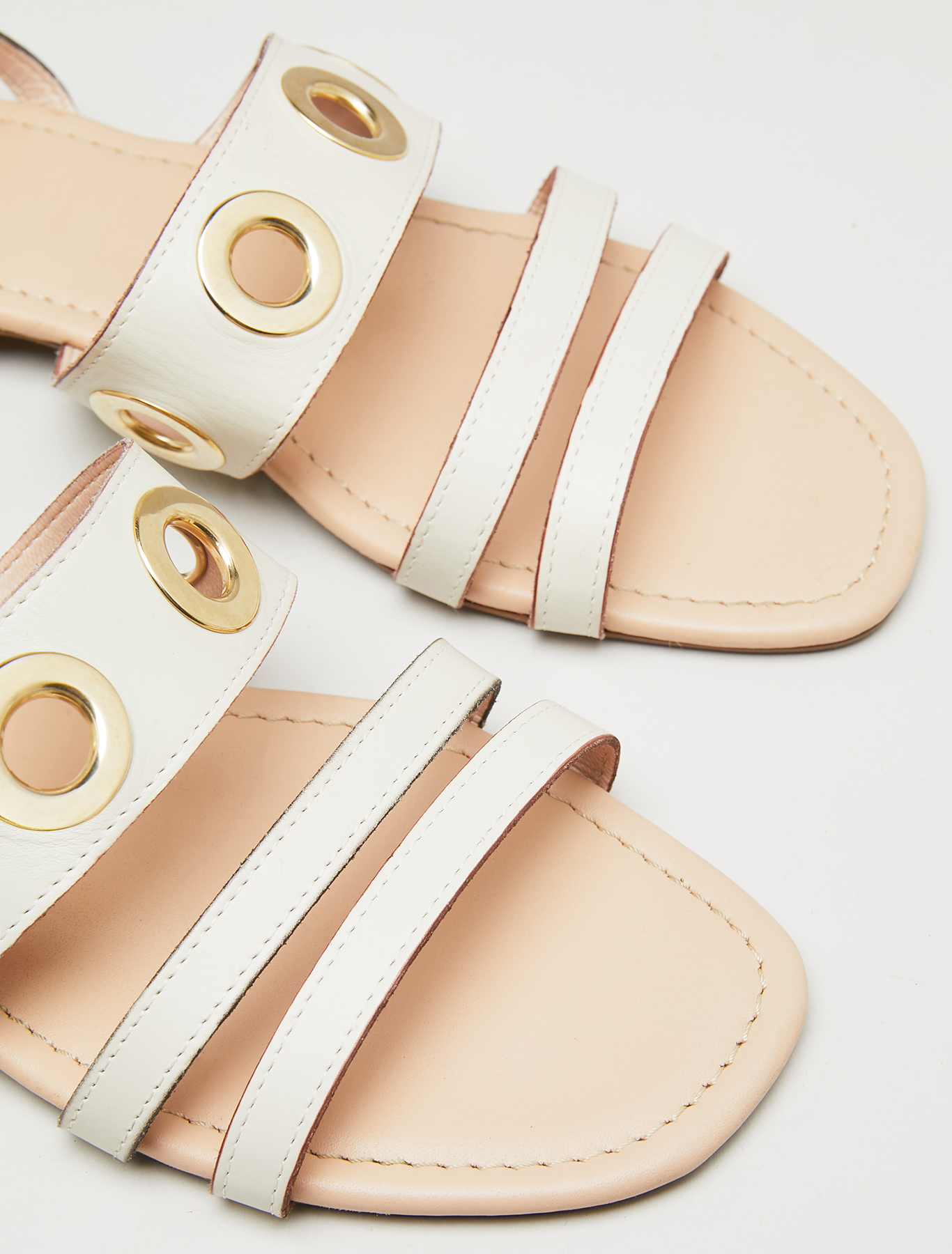 Leather sandals with eyelets - beige - pennyblack