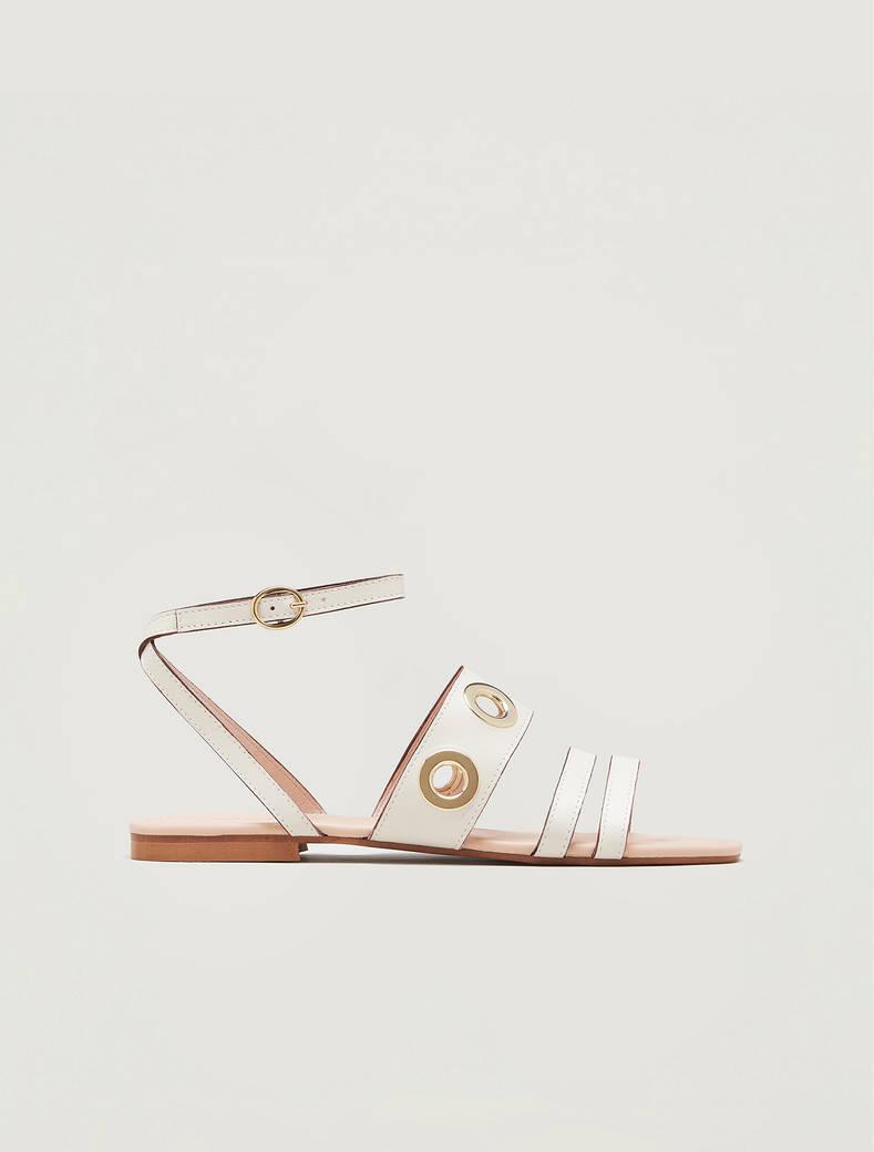 Sandali in pelle con occhielli - beige - pennyblack