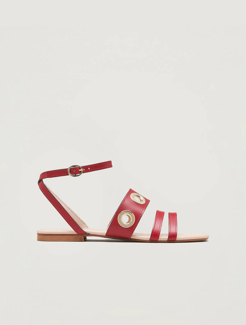Leather sandals with eyelets - red - pennyblack