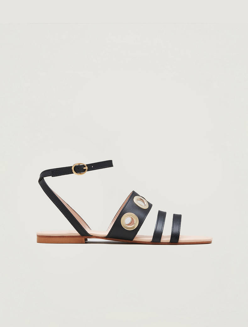 Leather sandals with eyelets - black - pennyblack
