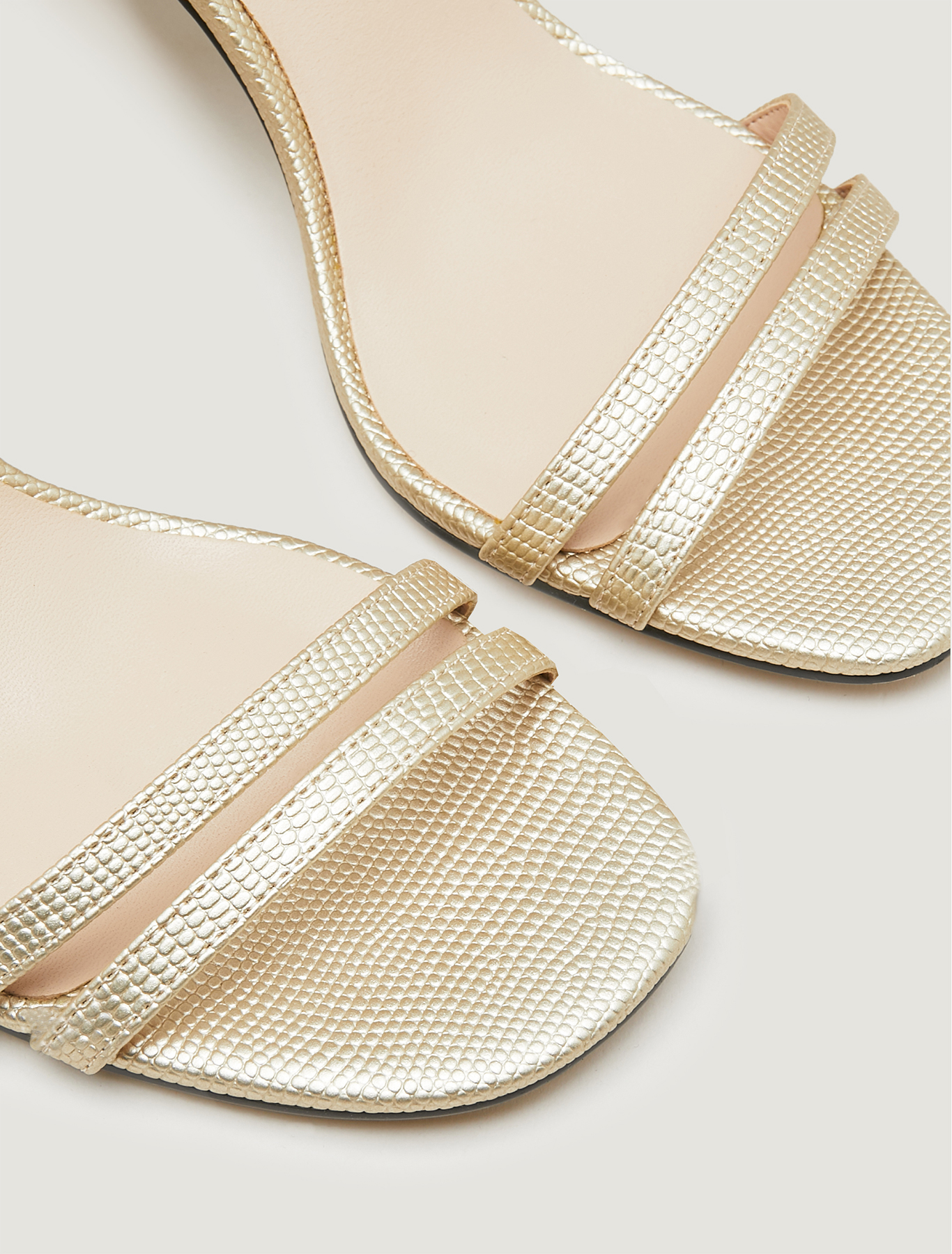Lizard-print high-heeled sandals - sunshine yellow - pennyblack