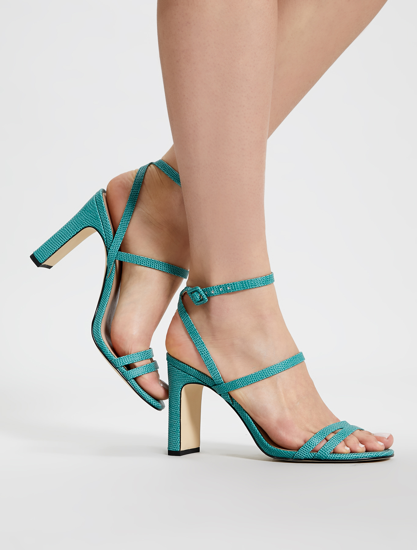 Lizard-print high-heeled sandals - green - pennyblack