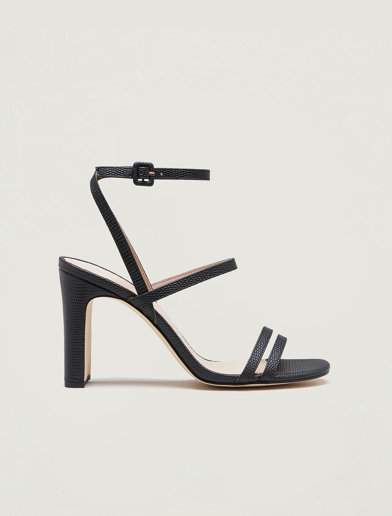 Lizard-print high-heeled sandals - black - pennyblack