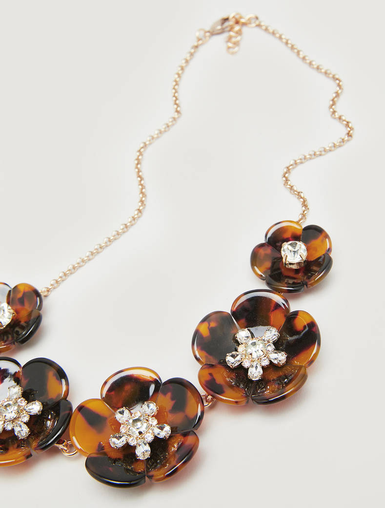 Necklace with maxi flowers - black - pennyblack