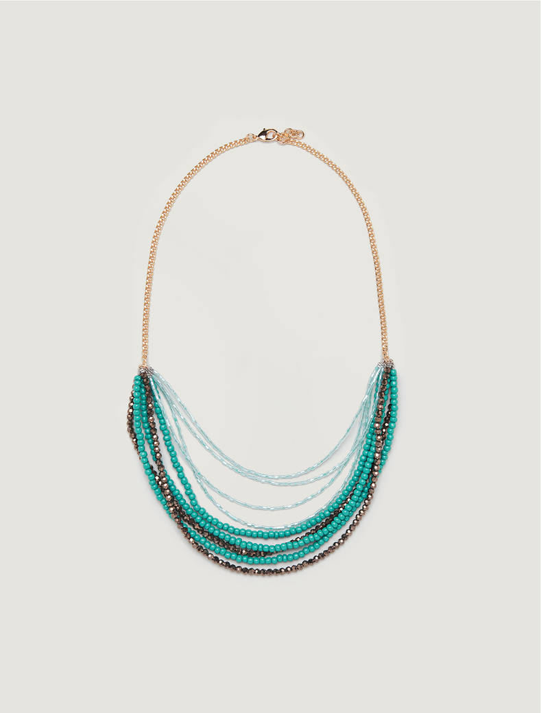 Multi-strand necklace with beads - green - pennyblack