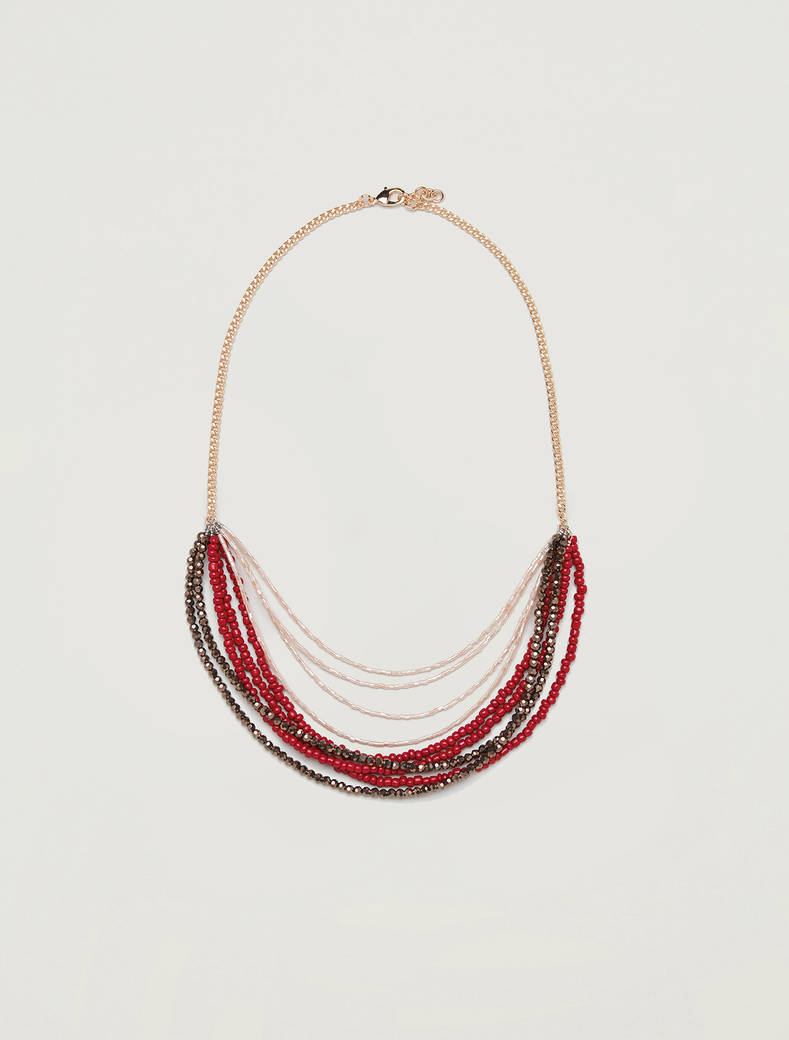 Multi-strand necklace with beads - red - pennyblack