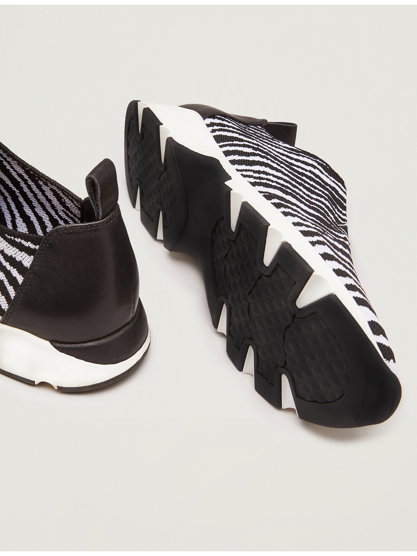 Zebra print trainers in technical knit - black - pennyblack