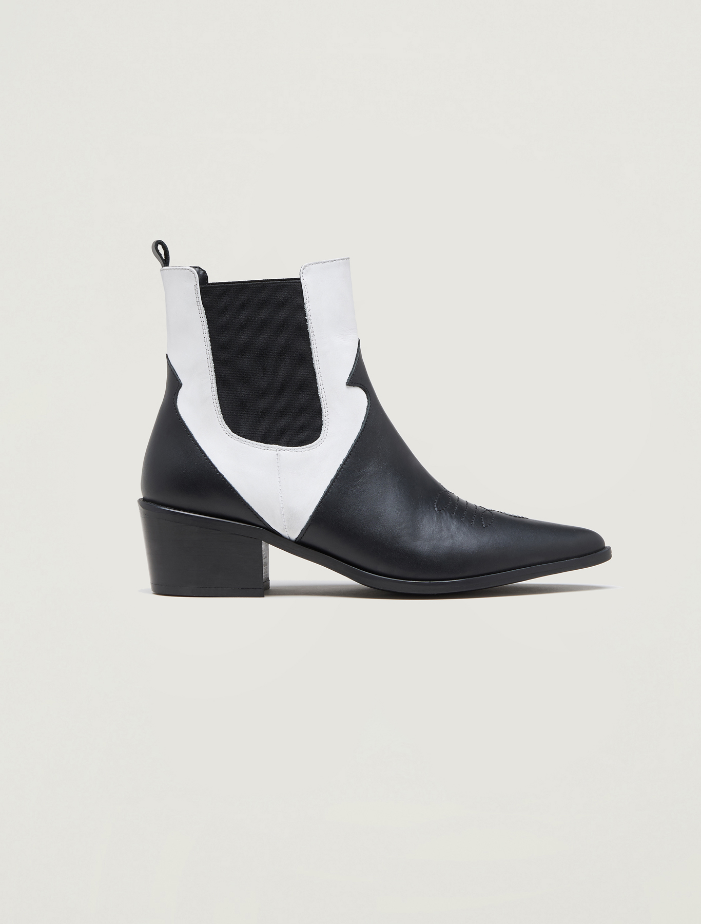Leather cowboy ankle boots - black - pennyblack