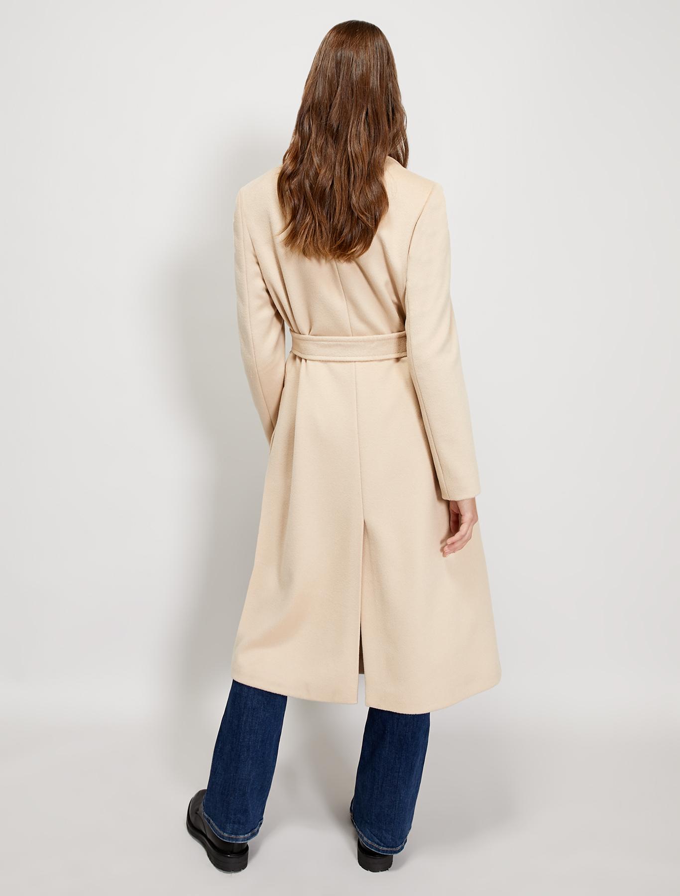 Cappotto midi in drap di lana - beige - pennyblack