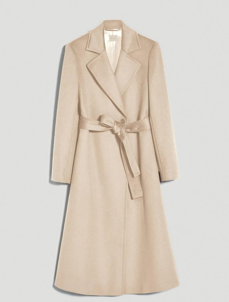 Wool drap midi coat - beige - pennyblack