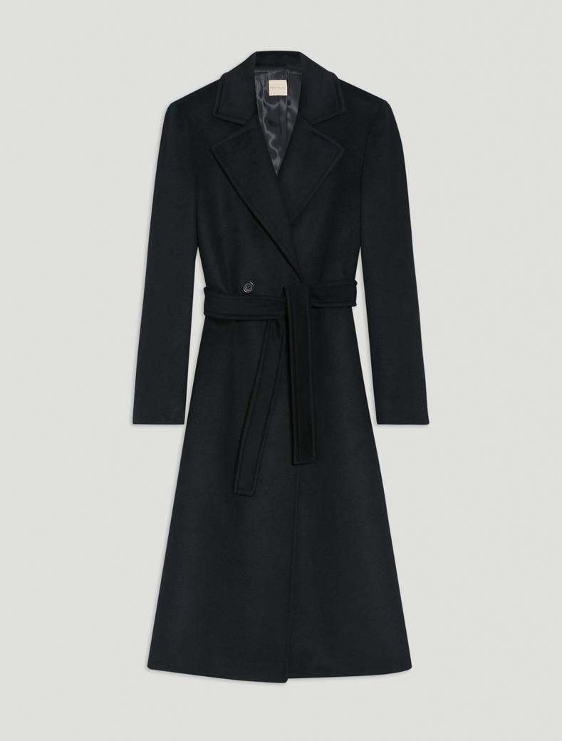 Wool drap midi coat - black - pennyblack