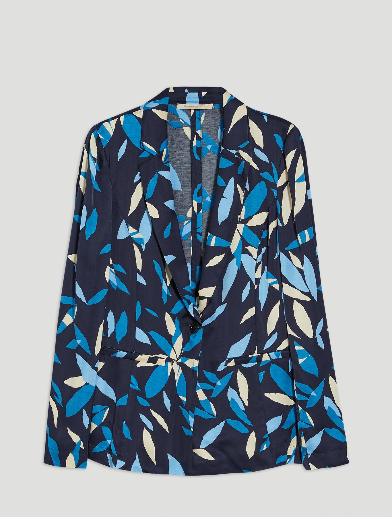 Slim satin blazer - navy blue pattern - pennyblack