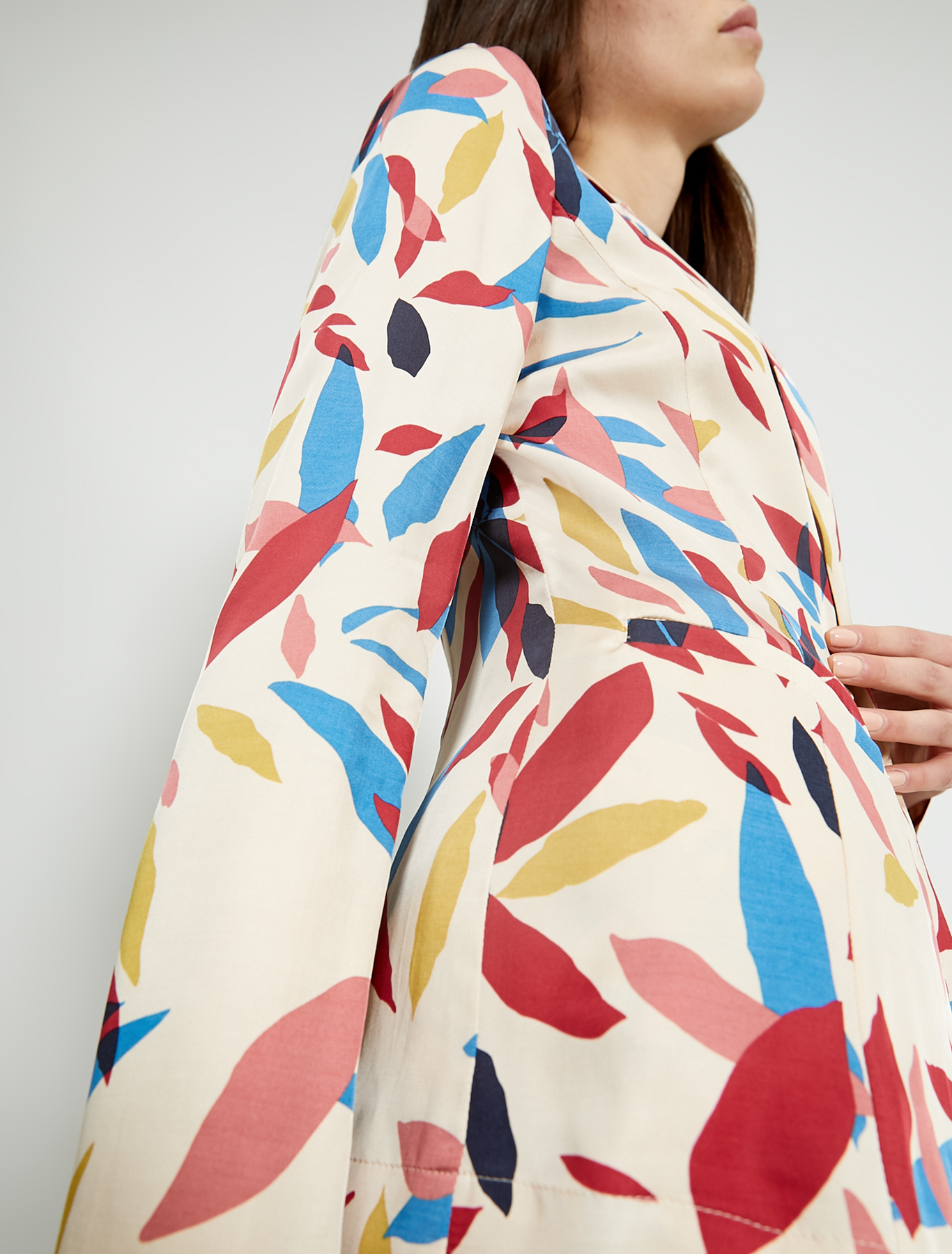 Slim satin blazer - beige pattern - pennyblack