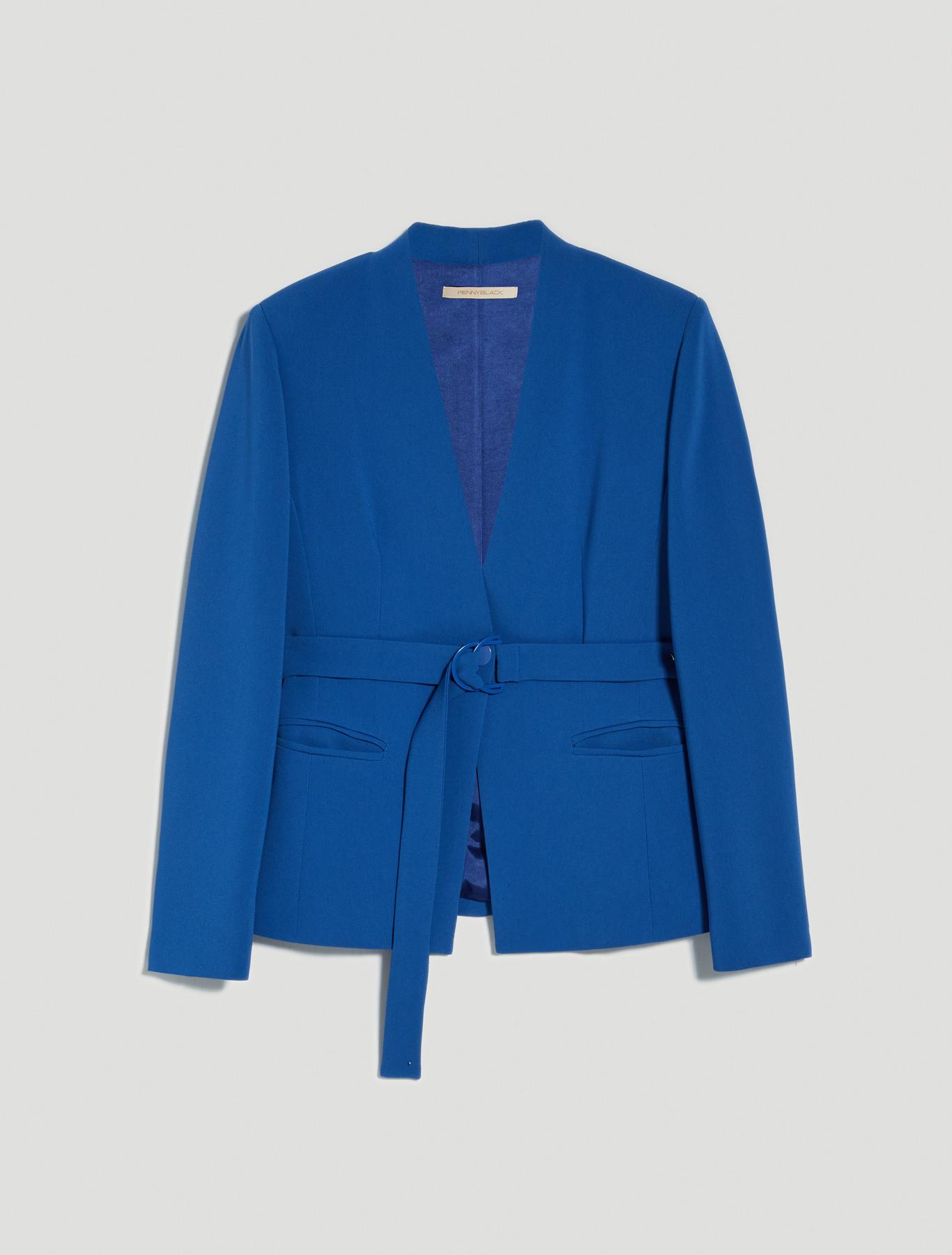 One-button slim-fit blazer - air force blue - pennyblack