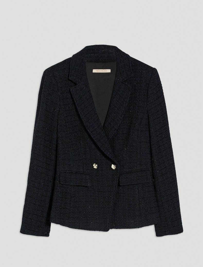 Lamé basketweave blazer - black pattern - pennyblack