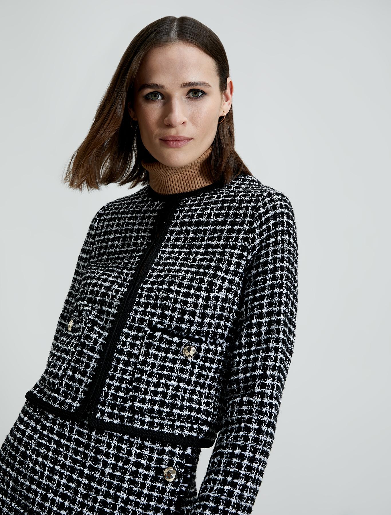Lamé basketweave jacket - beige pattern - pennyblack